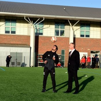 VC Paul Croney & MFC player Fabio opening new outdoor pitch