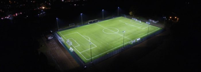 3G pitch construction at night time